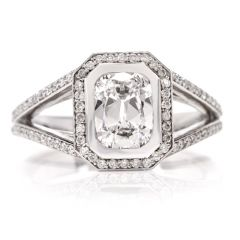Diamond Pave Split Platinum Engagement Ring