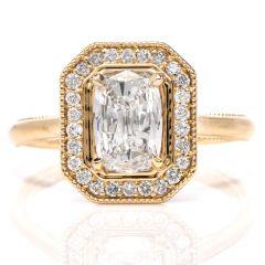 Cushion GIA Diamond Halo 18K Engagement Ring