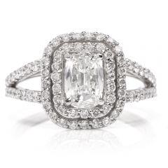 GIA Certified Diamond Cushion Brilliant Platinum Engagement Ring