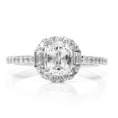 Diamond Baguette Halo Platinum Engagement Ring