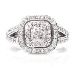 GIA Certified Diamond Split Shank Platinum Engagement Ring