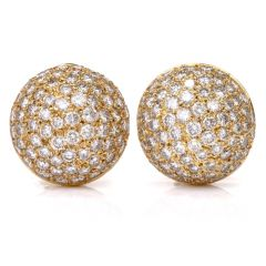 Estate 6.75cts Bombe Diamond Clip-on 18k Gold Dome Earrings
