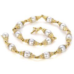 Kurt Wayne Diamond South Sea Pearls 18K Gold Choker Necklace