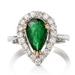 Estate Pear Emerald Diamond Halo 18K Gold Ring