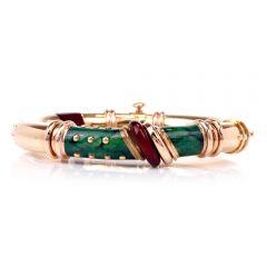 Designer Nouvelle Bague 18k Yellow & Rose Gold Enamel Bangle Bracelet