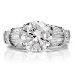 Estate Diamond Platinum Baguette Engagement Ring