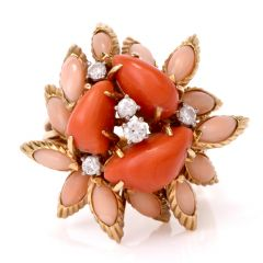 Vintage Multi-Color Coral Diamond Gold Cocktail Cluster Ring