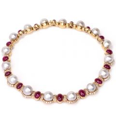 Estate Diamond Ruby Pearl 18K Yellow Gold Choker Necklace