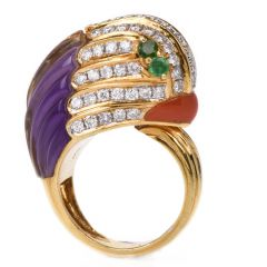 Estate 18k Diamond Amethyst Coral Emerald Animal Cocktail Gold Ring