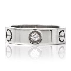 Cartier Love Ring 3 Diamonds 18k White Gold Ring Size 52