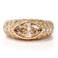 Oscar Heyman Fancy Light Brown Marquise & Pave Diamond 18K Gold Engagement Ring