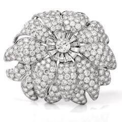 Vintage Large Floral Diamond Platinum Lapel Brooch 760643