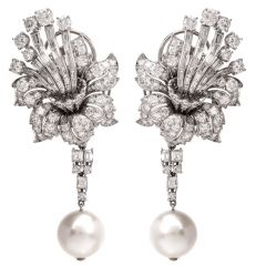 Vinatge Floral Diamond Cluster Day Night Drop Earrings