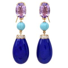 Lapis Lazuli Amethyst Turquoise Diamond 18K Gold Dangle Earrings