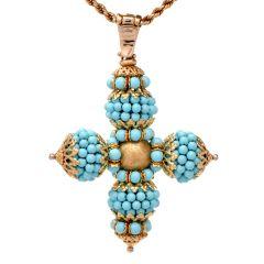 Turquoise Bead 18K Gold Cross Pendant Enhancer