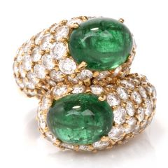 Estate Emerald Cabochon Pave Diamond Bypass Cocktail Ring