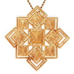 Tiffany & Co. Vintage 18K Gold Pyramidal Lapel Pin Brooch Pendant
