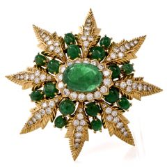 Vintage Starburst Emerald Cabochon & Diamond Yellow Gold Lapel Brooch