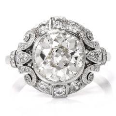 Antique Filigree Diamond Platinum Engagement Ring
