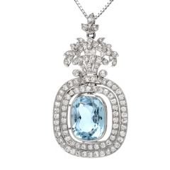 Tiffany & Co. Antique Floral Aquamarine Diamond Pendant