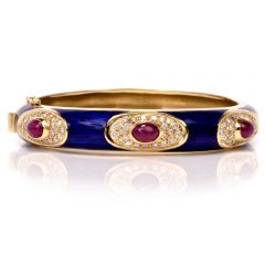 Estate Blue Enamel Ruby Diamond 18K Gold Bangle Bracelet