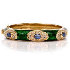 Estate Green Enamel Sapphire Diamond 18K Gold Bangle Bracelet
