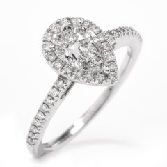Pear Shape Diamond Halo White Gold Engagement Ring
