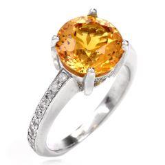 Estate Yellow Sapphire Diamond Platinum Ring