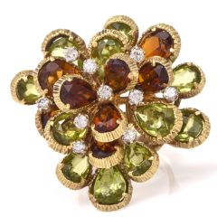 Flower Diamond Citrine Peridot Gold Cocktail Ring