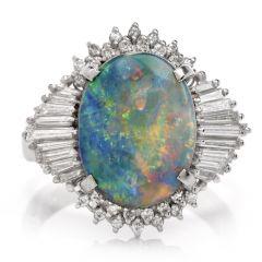 Estate White Opal Diamond Platinum Cocktail Ring