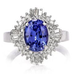 Tanzanite Diamond Ballerina Platinum Ring