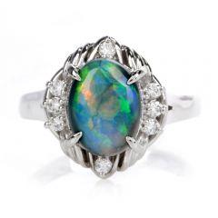 Estate Diamond Cosmic Opal Platinum Cocktail Ring