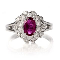 Estate Lady Diana Ruby Diamond Halo Platinum Cocktail Ring