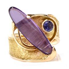 Contemporary Surrealistic Amethyst Iolite Gold Ring