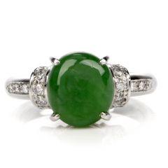 Estate GIA Jade Diamond Platinum Ring