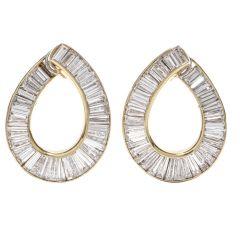 Gregory Stewart Tapered Baguette Diamond Yellow Gold Hoop Earrings