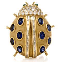 Kurt Wayne Lady Bug Sapphire Diamond Emerald 18K Gold Pin Brooch