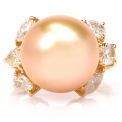 Golden Pearl Diamond Yellow Gold Cocktail Ring