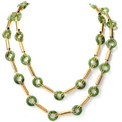 Vintage Retro Jade Yellow Gold Long Necklace