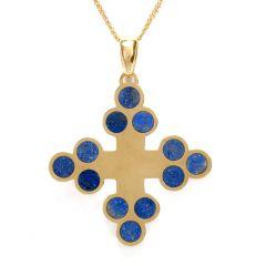 Lapis Lazuli Cross 18K Yellow Gold Pendant Chain Necklace