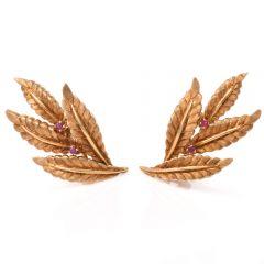 Vintage 18 karat Gold & Ruby Leaf Motif Clip-on Earrings