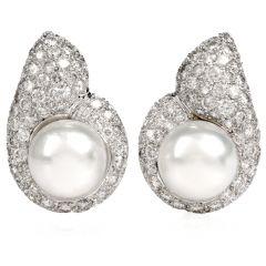 Estate Diamond Pearl Tear Drop Clip On 18K White Gold Earrings