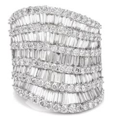 Estate Diamond White Gold Wide Cocktail Ring