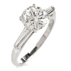 GIA Round Brilliant Diamond H Color VVS2 Clarity Platinum Engagement Ring