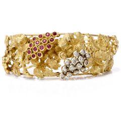 Antique Art Nouveau Grape Diamond Ruby Gold Bracelet
