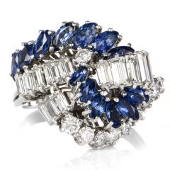 Vintage Diamond Sapphire Cluster 18k Gold Cocktail Ring