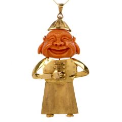 Vintage Coral Smiling Jester Buddha Yellow Gold Necklace Pendant