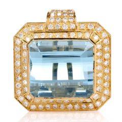 Aquamarine Diamond Yellow Gold Square Pendant Enhancer