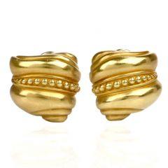 Kieselstein Cord Shell Swirl 18K Green Gold Stud Clip On Earrings