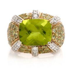 Estate Peridot Diamond 18K Gold Dome Cocktail Ring